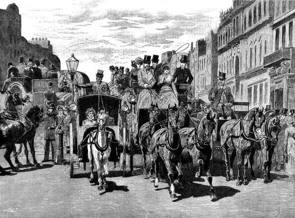 Engraving showing horse-drawn carriages travelling along Piccadilly, during the London 'Season', 1883