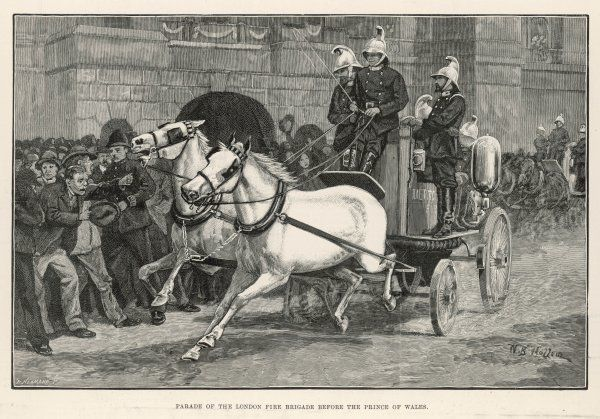 A parade of the London Fire Brigade in one of their horse- drawn engines before the Prince of Wales