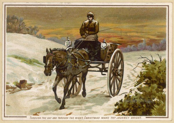 A man and his horse deliver the mail by cart