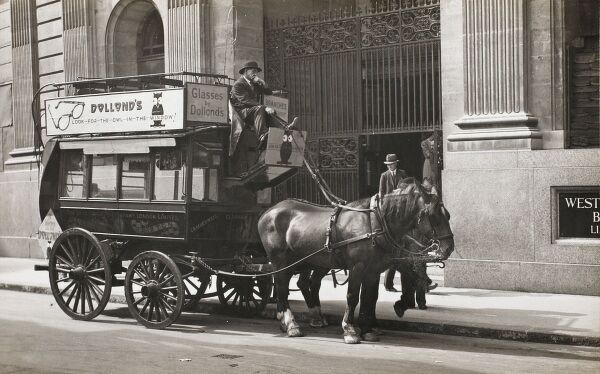 Horse-drawn omnibus. Taken outside the Westminster Bank in the City. This is the Camberwell and Clapham service operated by The Star Omnibus Company