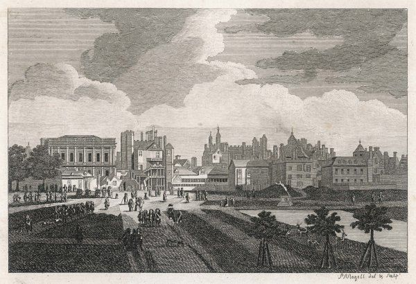 The Old Horse Guards, seen from St James Park, before the new buildings were erected and the parade ground cleared