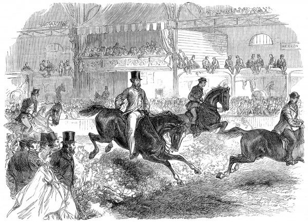 Engraving showing a group of riders jumping their horses over fences at the Islington Horse Show, 1864