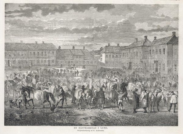 The horse market at Lund, Sweden