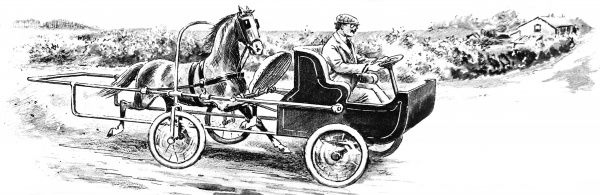 Illustration showing an invention, patented in 1921, that used a horse to 'push' a four wheel vehicle