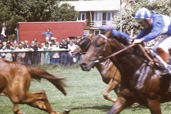 Horse racing on a British race track. Date: 1979