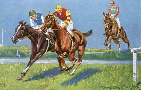 Horse Racing - 'Neck and Neck' by Antonio Donadini. Two jockeys battling it out at the head os the field in thsi steeplechase race. Date: circa 1920s