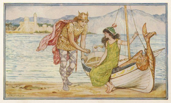 'THE HORSE AND THE SWORD' Sigurd gives the ring to Helga - an Icelandic tale. Date