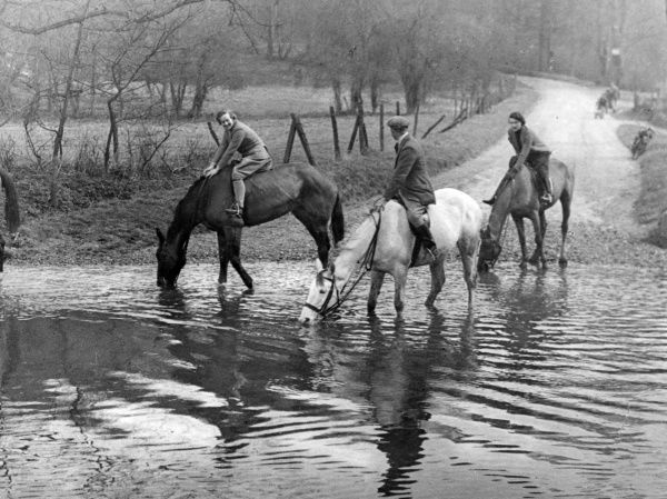 'A Welcome Drink'. Three horses and their riders take a welcome break at Barwick Ford, near Ware, Hertfordshire, England. Date: 1930s