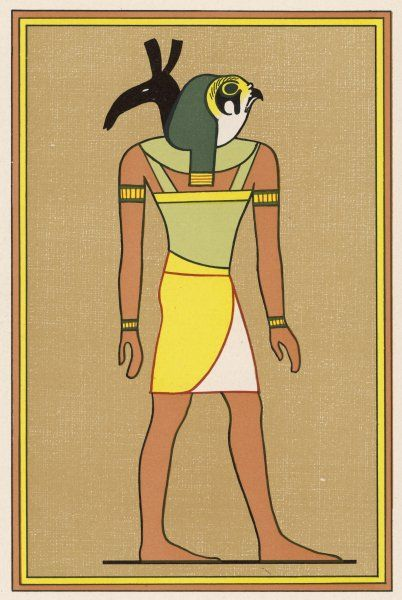 In some of his many forms, the falcon-god Horus takes on the attributes of other deities : here he is as HORUS-SETH, adding Seth's formidable powers to his own