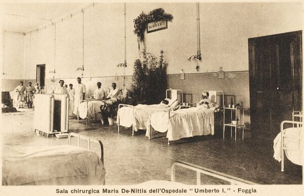 The Umberto I Hospital in Foggia, Italy. The Maris de Nittis ward for male patients (possibly in this case soldiers)