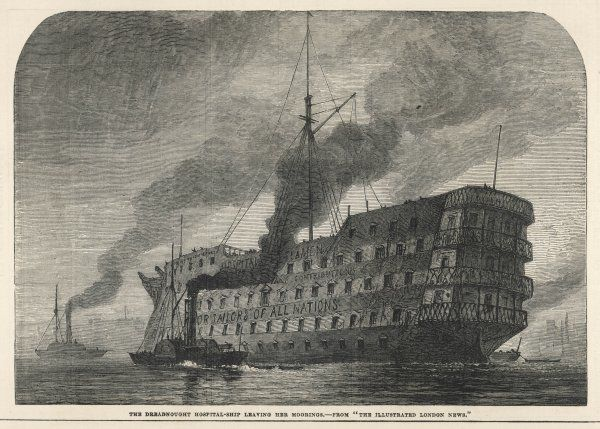 The Dreadnought hospital-ship leaving her moorings
