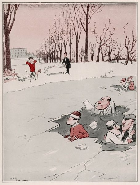 Humorous illustration by H.M. Bateman showing a distraught society lady, aghast at the sight of her house guests standing chest deep in the not very frozen lake she had encouraged them to skate upon