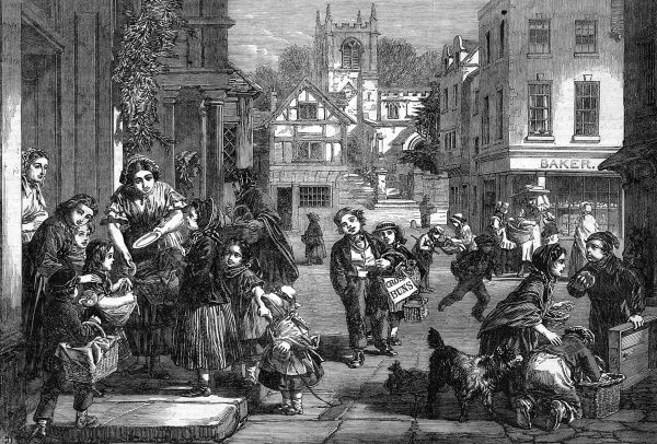 Victorian Easter scene with a young hot cross bun seller walking through a traditional English town