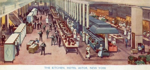 Kitchens of the Hotel Astor, New York City, America