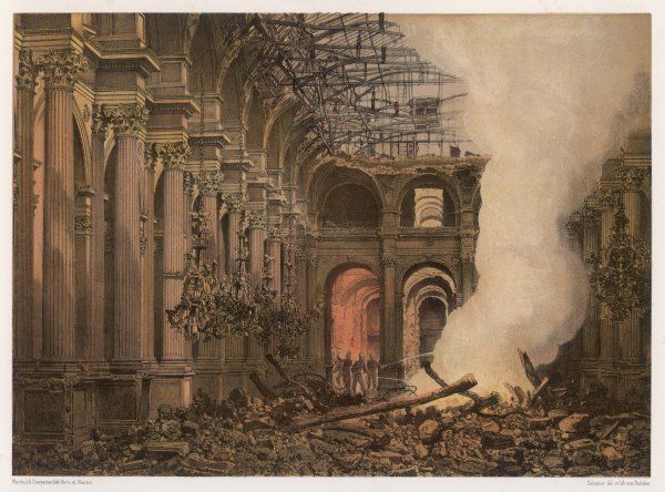 The Hotel de la Ville is destroyed by the Communards; the ruins of the Grande Salle des Fetes after the fire