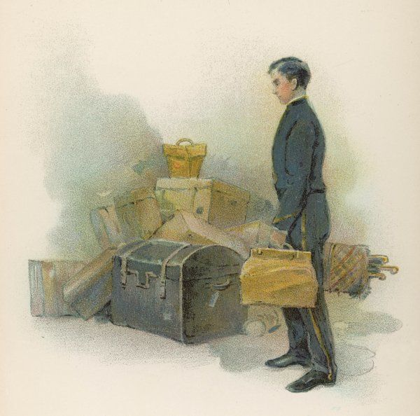 The page-boy at the Savoy Hotel, London, handles guests' luggage