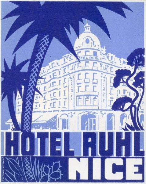 A luggage label from Hotel Ruhl in Nice, France