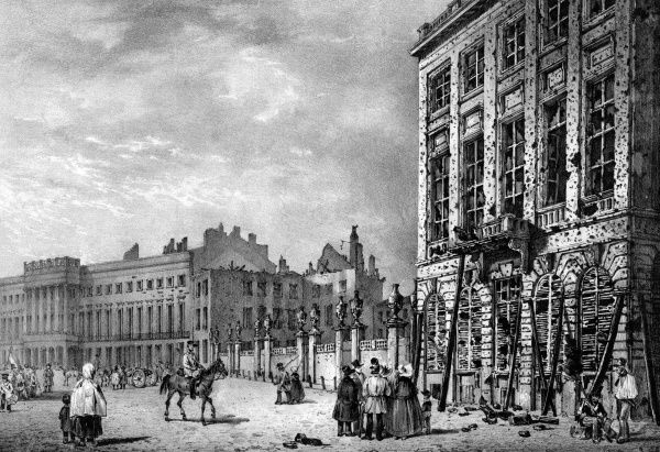 The facade of the Hotel de Ville, Paris, bears the scars of three days of bitter street fighting. Date: 23-26 July 1830