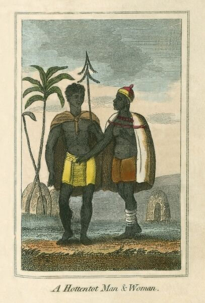 Hottentot Man and Woman from Southern Africa, north of the Cape of Good Hope