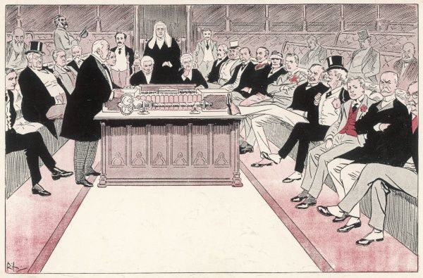The Commons front benches in 1907, as predicted in this cartoon of seven years earlier