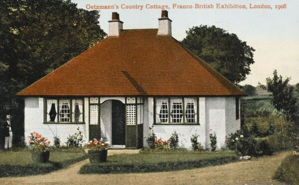 A house design by Oetzmann & Co. Ltd. - Oetzmann's Country Cottage - exhibited at the Franco-Britsih Exhibition in London in 1908