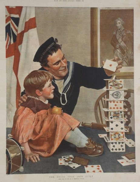 A colour illustration portraying a sailor showing a little boy how to build a house of playing cards