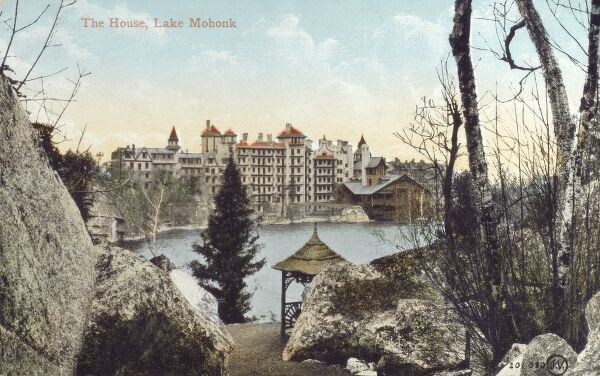 Mohonk Mountain House - Built on the deep-blue waters of Lake Mohonk in 1869, this grand 267-room Victorian castle is one of America's oldest family-owned resorts. Date: 1912
