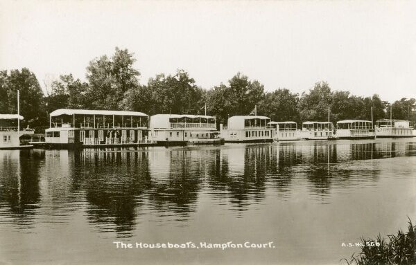 Houseboats at Hampton Court, moored on the banks of the Thames River