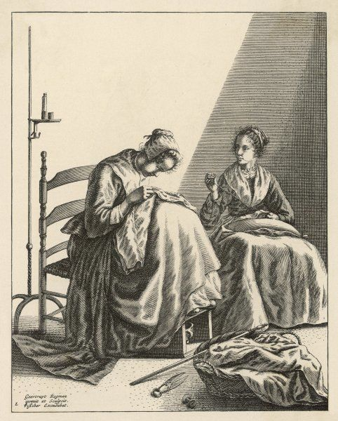Two Dutch women sewing
