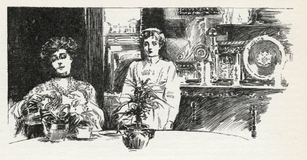 The housemaid hovers in attendance while her mistress drinks her tea, in case there should be something for her to do