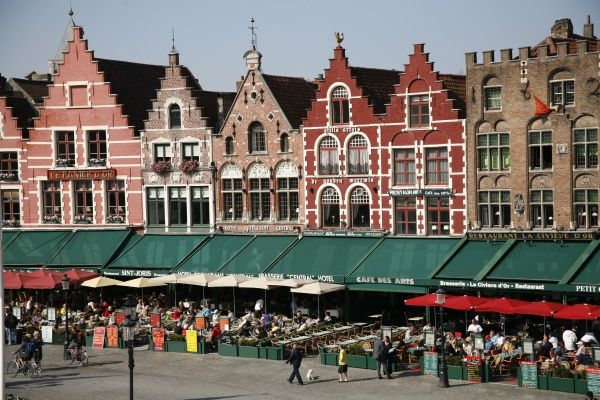 Medieval style houses in the Market Square, Bruges, Belgium circa 2008