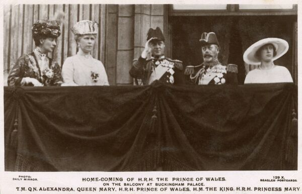 HRH Prince of Wales (centre) (future King Edward VIII) (1894-1972) - appears on the balcony of Buckingham Palace on his return from a tour of Canada and The United States - 1st December, 1919. Pictured with (from left): Queen Mother, Alexandria of Denmark