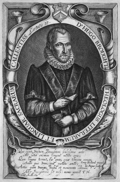 HUGH BROUGHTON Churchman, rabbinical scholar, at age 37. He holds a book in one hand, a pair of gloves in the other. Date: 1549 - 1612