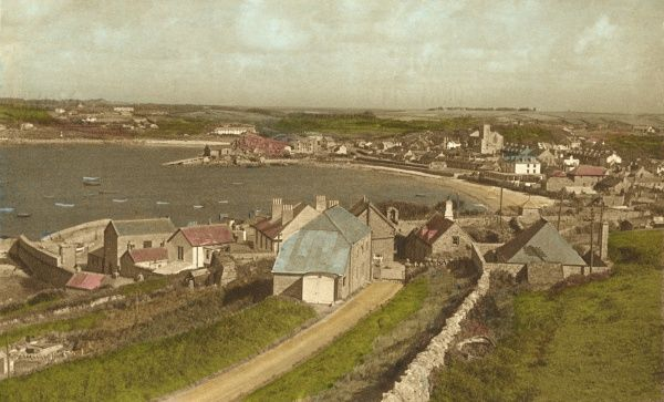 View of Hugh Town, St Mary's, Scilly Isles. Hugh Town is the main settlement on the Scillies. Date: circa 1950