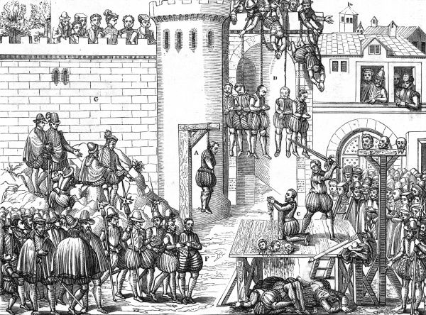 Huguenots are hanged by the Catholics at Amboise Date: 1562