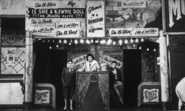 Sensational sideshow at Hull Fair, run by the Testo family (left to right: Dolly, Amy, and George)