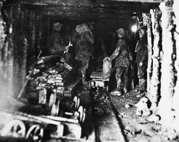 Hulluch underground system known as Charing Cross near Loos. The 3rd Australian Tunnel Company engaged in defensive work on the Western Front in France during World War I in January 1918