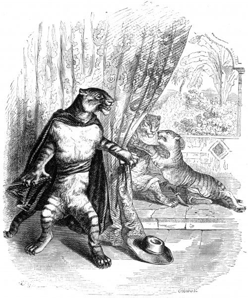 A humanised tiger in theatrical costume, cast in the role of a stage hero, spying on other animals behind a curtain. Date: circa 1840