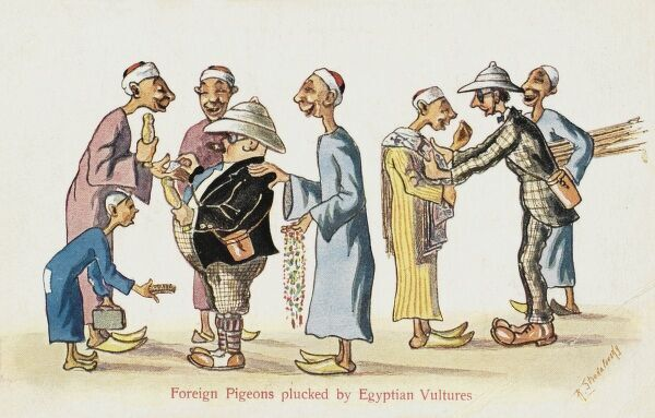 A funny cartoon, lampooning tourists to Egypt as 'Pigeons plucked by Egyptian Vultures&#39