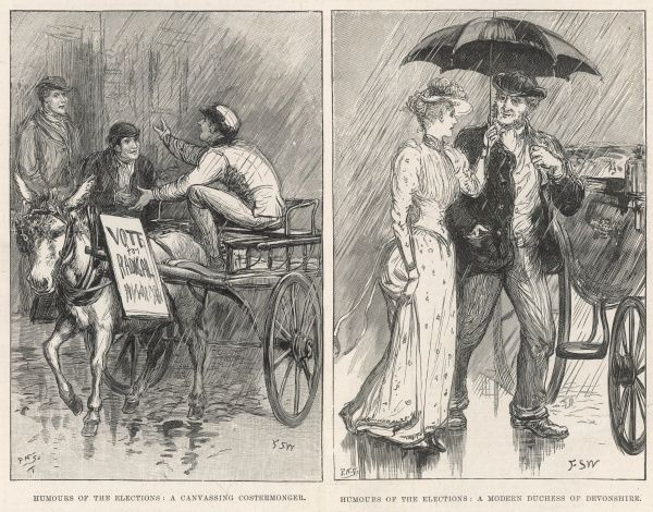 Two sketches showing humours of the 1892 election showing a canvassing costermonger in one picture and a modern Duchess of Devonshire in another (the 18th century Duchess was a well-known canvasser for Charles James Fox)