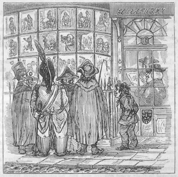 Mrs Humphrey's print shop in St James Street, London, where Gillray's latest prints were displayed