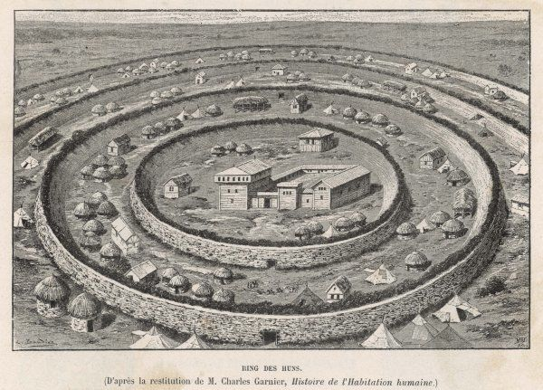 Ring-shaped fortified settlement of the Huns, who invade Europe from the east in the 4th century, occupying parts of Hungary and Germany before trying to move west