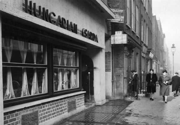 Hungarian Csarda restaurant at 76 Dean Street, Soho, London. Date: 1947