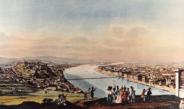 Before the unification (in 1872) of the former towns of Buda (on the right bank of the Danube) and Pest (on the left bank). Date: 1838