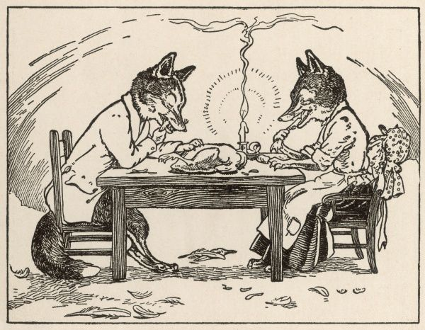Sitting with his wife, the hungry fox eats the goose without a knife and fork by candlelight, leaving plucked feathers on the floor