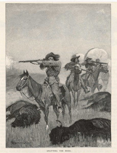 Hunting buffalo with rifles on the American plains