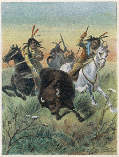 Native Americans hunting buffalo