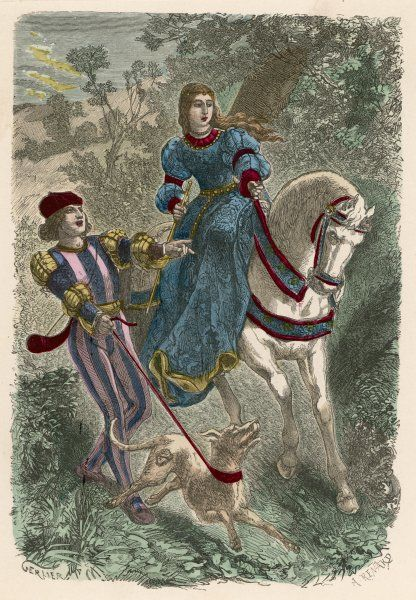 A man and woman dressed for hunting : the hunter wears brightly striped doublet and hose, his companion a long dress : surprisingly, she is bare-headed