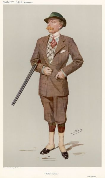 Lord Savile wears a window pane check knickerbocker suit, argyll socks, gaiters (spats), all round collar & cravat, a checked waistcoat & a rather Austrian looking felt hat