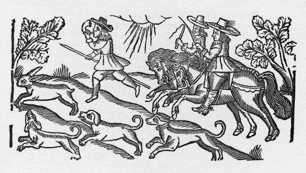 A huntsman on foot leads the way for two huntsmen and their dogs, in close pursuit of the hare